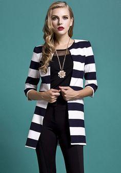 Navy White Striped Half Sleeve Outerwear