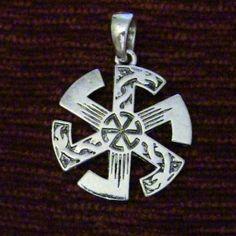 Slavic Pagan Sunwheel with Dragons. Kolovrat.  http://honortheroots.com/product/kolovrat-sun-wheel-pendant/