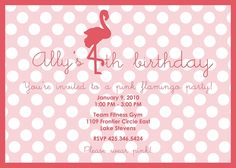 pink flamingo party invite but flamingo facing the other way?