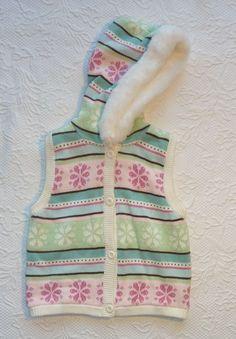 Gymboree WINTER BALLERINA FAIR ISLE Hooded Sweater Vest Faux Fur Trim size 5-6 #Gymboree #Vest #Everyday