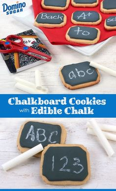 After the bell rings, bring the classroom home with charming chalkboard cookies and edible white chocolate chalk.