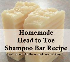 The Homestead Survival Homemade Head to Toe Shampoo Bar Recipe Homemade Soap Recipe Diy Shampoo, Homemade Shampoo, Shampoo Bar, Homemade Facials, Homemade Conditioner, Diy Savon, Savon Soap, Shampoo Natural, Natural Soaps
