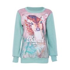Hoodies/Sweatshirts - Bambi Print Green Sweatshirt, #Pariscoming #Paris #fallfashion #fallstyle #falltrends #fallingfor #fall #winterfashion #winterstyle #wintertrends #winterfor #winter #cardi #clothing #inspirational #fashionable #ontrend #stylist #Styling #StreetStyleSeason #streetstyle #fashionblog #fashiondiaries #fashiondiary #WearIt #WhatYouWear If you like,follow me back and find it on our online store.