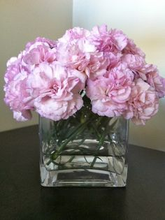 Carnations. Says Anna: Having beautiful flowers displayed around the home need not be expensive. Two bunches of carnations from Thomas Dux [grocery store] cost me just $12.00. I took my time arranging them and here's the result.