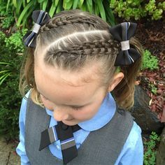 """""""Grace and George have their School photos today. There is just something about the kids School photos that I L️VE!! Small Diagonal Suspended Infinity braids into ponytails with her new school bows. """" Photo taken by @prettylittlebraids on Instagram, pinned via the InstaPin iOS App! http://www.instapinapp.com (06/01/2015)"""