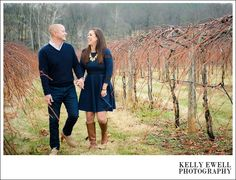 Black and blue winter engagement photos at Chrysalis Winery and Vineyard in Middleburg, Virginia | Kelly Ewell Photography | Leesburg VA Wedding Photographer