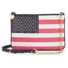 Draper James - Limited Edition American Flag Pinewood Envelope ($125) ❤ liked on Polyvore featuring bags, handbags, clutches, leather purses, multi colored clutches, leather handbags, chain handbags and colorful clutches