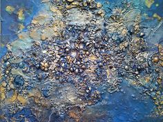 """Blue Planet by Linda Stevens aka nexus7. She says on the Fine Art America website """"I work mainly with mixed-media pieces on board using an array of material ranging from glass fragments, fabric pieces and wax. I am fascinated by materials that reflect and use a lot of golds, silvers and luminescents against matt backgrounds."""""""