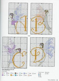 Fairy alphabet a-d Cross Stitch Fairy, Just Cross Stitch, Funny Cross Stitch Patterns, Cross Stitch Designs, Diy Embroidery, Cross Stitch Embroidery, Cross Stitch Letters, Alphabet Design, Sewing Art