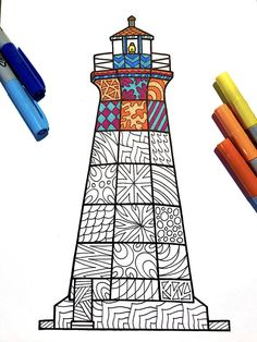Color Pencil Drawing Tutorial Lighthouse – PDF Zentangle Coloring Page – Scribble Pencil Drawing Tutorials, Pencil Drawings, Art Drawings, Doodle Art Drawing, Mandala Drawing, Zentangle Patterns, Zentangles, Lighthouse Drawing, Sharpie Drawings