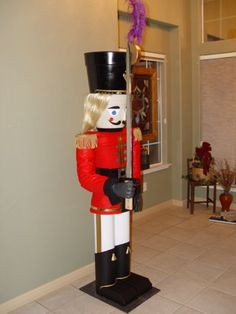 Build a 7 Foot Nutcracker From Flower Pots : 13 Steps (with Pictures) - Instructables Indoor Christmas Decorations, Christmas Yard, Nutcracker Christmas, Outdoor Christmas, Christmas Projects, All Things Christmas, Holiday Crafts, Holiday Decor, Christmas Ideas