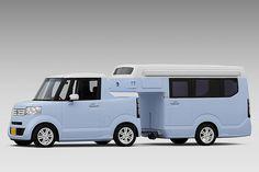 ホンダ、「N-BOX」ベースの軽ピックアップ「N-TRUCK」とキャンピングトレーラー「N-CAMP」 - Car Watch Suzuki Carry, Car Camper, Expedition Vehicle, Camping Car, Camping Places, Kei Car, Rv Homes, Tiny Homes, Trucks