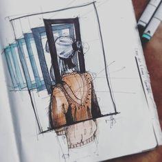 When a mystery is too overpowering,  one dare not disobey.☁ __________________________________ #sketchaday #speedsketch #draw #sketchbook #idsketching #sketching #drawing #copic #markers #concept #design #art #sketchaday #characterdesign #pilotfineliner #copicmarkers #copicmarker #artwork #girl #inception #3d