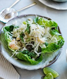 Spicy crab and green papaya salad on lettuce leaves :: Gourmet Traveller Magazine Mobile