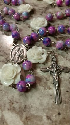 Handmade Chain Rosary: Pink and Turquoise with by GardenOfRosaries