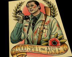 Evil Dead Classic Ash Tattoo Flash 11x17 by ParlorTattooPrints
