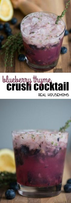 Summer cocktails don't get much easier than this tart, sweet, and refreshing Blueberry Thyme Crush Cocktail made with vodka or gin! via @realhousemoms