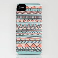 Tribal #4 (Coral/Aqua) iPhone Case by haleyivers | Society6