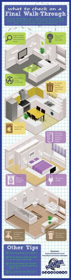 What to Check on a Final Walk-Through #Infographic: http://www.househunt.com/news-realestate/what-to-check-on-a-final-walk-through/