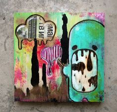 """""""Candycloud baby""""  20 cm x 20 cm, Woodburning/Acrylic/Collage on wood"""