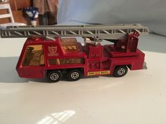 "Matchbox Super Kings K-9 Fire Tender Lesney 1 Original Matchbox Super Kings RED K-9 FIRE TENDER 6"" Engine 1972 Diecast Model Toy Lesney. In used condition. The ladder moves and expands. It is from 1972 s It measures 14 x 4.5 cm. Sold as seen in the photos"