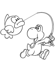 Funny Yoshi Coloring Pages Printable For Kids. Yoshi is a fictional dinosaur from the video game created by the Japanese Shigefumi Hino in He appears in m Fish Coloring Page, Cute Coloring Pages, Coloring Pages To Print, Adult Coloring Pages, Coloring Pages For Kids, Coloring Books, Kids Coloring, Free Coloring Sheets, Free Printable Coloring Pages