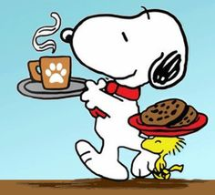 How cute is this his? Coffee & cookies delivered by Snoopy & Woodstock? Snoopy Images, Snoopy Pictures, Snoopy Und Woodstock, Snoopy Love, Snoopy Christmas, Charlie Brown Christmas, Peanuts Cartoon, Peanuts Snoopy, Peanuts Characters