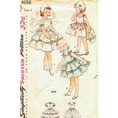 Simplicity 4688 Vintage 50s Pattern Girls 4 Jr Brides Maid Flower Girl 1st Communion