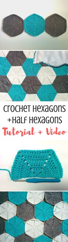 Learn how to crochet hexagon and crochet HALF hexagons with this tutorial! I like these because they're a lot less holey than others I've seen! Get the pattern here