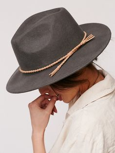 Joan Leather Banded Hat | Effortless wool felt hat featuring a braided leather band for an elevated look.