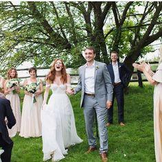 Pure JOY!! Loving Sam in her @tatyanamerenyuk gown on her wedding day!  @cappyhotchkiss