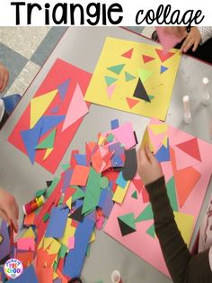 Triangle Collages Plus Shapes Activities For Preschool, Pre-K, And Kindergart… 2d Shapes Activities, Learning Shapes, Toddler Learning Activities, Preschool Learning Activities, Fall Preschool, Preschool Activities, Preschool Shape Activities, Art Activities For Preschoolers, Preschool Art Lessons