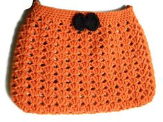 Crochet Orange Black Hobo Bag Fabric Lined Purse by jwhizcrochet Hobo Bag, I Shop, Purses, Orange, Trending Outfits, Crochet, Unique Jewelry, Handmade Gifts, Fabric