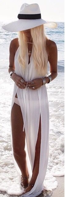 what a gorgeous bohemian beach dress. love the double slit detail so much