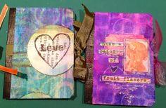 Little composition books transformed into mini art journals.