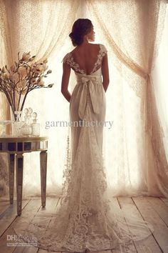 Anna Campbell Lace Wedding Dresses 2013 Sheer Top Empire Wedding Dresses | Buy Wholesale On Line Direct from China