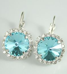 Turquoise crystal earrings Swarovski rivoli | your something blue