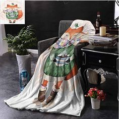 fenlin Animal Luxury Special Grade Blanket Cute Little Fox and Bird on His Head Tea Time Kids Nursery Friends Baby Theme Multi-Purpose use for Sofas etc. Organic Baby Clothes, Unisex Baby Clothes, Winnie The Pooh Blanket, Newborn Tieback, Little Fox, Time Kids, Boho Baby, Newborn Gifts