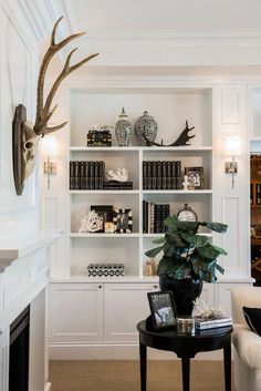Built in look: white from ceiling to floor; moulding to create detail (perhaps for end panel); cornice at top. Consider shiplap detail for coastal look.