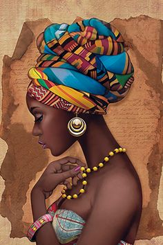 """African Yellow Necklace"" - French Art {figurative beautiful female headdress profile pearls black woman face portrait painting} litoarte.com.br"