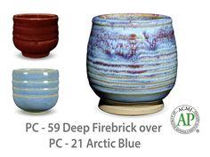 AMACO Potter's Choice layered glazes PC-21 Arctic Blue and PC-59 Deep Firebrick.