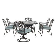 Home Decorators Collection Outdoor Madrid 7-Piece Patio Dining Set in Bronze and Bermuda-1466610310 - The Home Depot