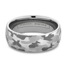 6mm or 8mm Camo Wedding Bands Tungsten Rings Engraved Military Camouflage - STRYKER