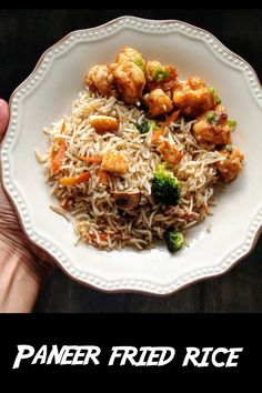 Paneer fried rice, a popular and tasty indo chinese rice recipe with Indian cottage cheese