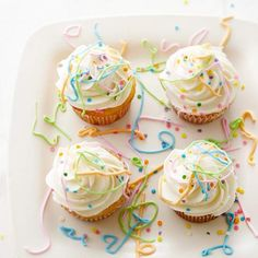 Whip up these Easy Confetti Celebration Cupcakes for your next birthday party! More fun recipes: http://www.bhg.com/recipes/desserts/cakes/spring-cakes-and-cupcakes/