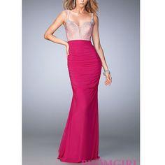 La Femme Hot Pink Rhinestone Prom Dress