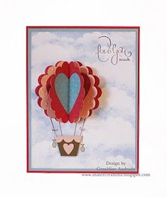 Valentine Hot Air Balloon...with hearts...Stampin' Up!  Punch Art  Geraldine Andrade.
