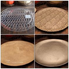 Check out this quick tutorial on DIY charger plates. Silver leaf, cement and mod podge, check, check and check! Charger Plate Crafts, Wood Plate Chargers, Dollar Tree Plates, Dollar Tree Crafts, How To Make Paint, Sweet 16 Parties, Diy Table, Diy Art, Ornaments