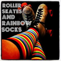 Skates and Rainbow Socks..Now ready for a fast skate!