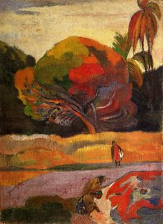 Women at the riverside - Paul Gauguin Completion Date: 1892 Place of Creation: French Polynesia Style: Post-Impressionism Period: Tahiti period Genre: genre painting Technique: oil Material: canvas Gallery: Van Gogh Museum, Amsterdam, Netherlands Paul Cezanne, Henri Matisse, Van Gogh Museum, Impressionist Artists, French Art, Vincent Van Gogh, Modern Art, Fine Art, Art Prints